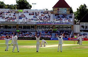 Appeal (cricket) - English players appeal for a leg before wicket in a Test match against India, 2007.