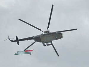 Abkhazian Air Force - An Mi-8 helicopter flying the Abkhazian flag