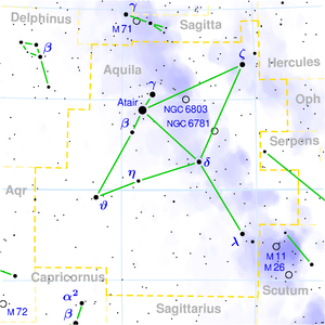 Beta Aquilae - Image: Aquila constellation map