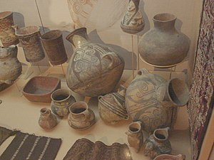 Chiribaya culture - Chiribaya pottery in the Arica (Chile) museum.