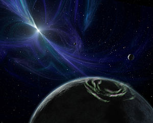 Neutron star - An artist's conception of a pulsar planet with bright aurorae.