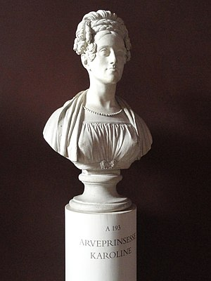 Princess Caroline of Denmark - Sculpted bust of Hereditary Princess Caroline, by Bertel Thorvaldsen.