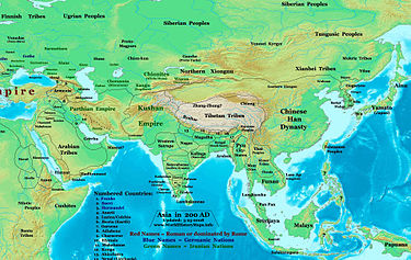 Southern and Northern Xiongnu in 200 AD, before the collapse of the Han Dynasty. Asia 200ad.jpg