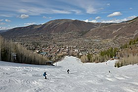 View of Aspen from Aspen Mountain ski area.
