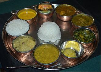 Dal bhat - Dal chawal in Assamese thali
