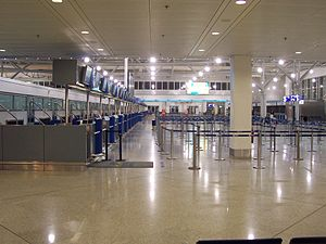 Athens airport in Greece, check-in desks in ai...