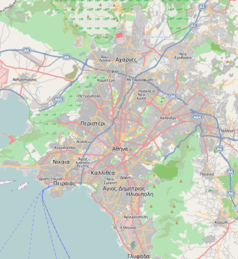 """Mapa konturowa Aten, w centrum znajduje się punkt z opisem """"Uniwersytet Narodowy im. Kapodistriasa w Atenach"""""""