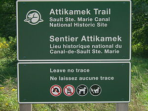 "Leave No Trace - ""Leave no trace"" sign on the Attikamek Trail near Sault Ste. Marie Canal in Canada."