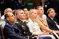 Audience members listen as Chairman of the Joint Chiefs of Staff U.S. Army Gen. Martin E. Dempsey, not shown, speaks at Theodore Hesburgh Library at the University of Notre Dame in South Bend, Ind., Sept 140906-D-KC128-216.jpg