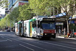 Melbourne tram route 1 - B2 class tram on Swanston Street in September 2012.
