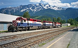 BC Rail - Two SD40-2s and a C44-9W at Pemberton in 1995.