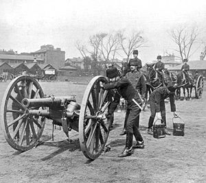 Ordnance BL 12-pounder 6 cwt - On the parade ground circa. 1897