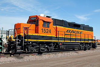 BNSF Railway - A second-generation Electro-Motive Diesel (EMD) yard-switching engine at Hobson Yard in Lincoln, Nebraska.