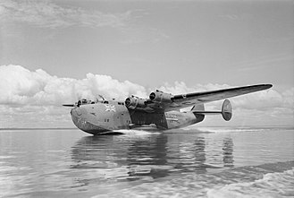 British Overseas Airways Corporation - A BOAC Boeing 314 Clipper lands on Lagos Lagoon, 1943