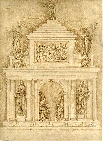 Bartolommeo Bandinelli - Baccio Bandinelli - Drawing of monument for Pope Leo X and Clement VII.