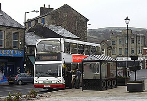 Bacup - A Rosso bus in Bacup town centre