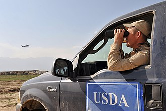 Animal and Plant Health Inspection Service - APHIS agent assess the airfield for birds at Bagram Airfield, Afghanistan