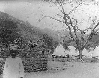 Barrouallie - Barrouallie, tent camp for people displaced by the 1902 eruption of the Soufrière