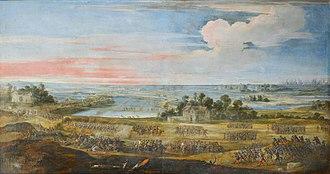 Battle of Pont du Feneau - Painting by Laurent de La Hyre depicting the battle