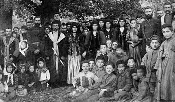 A late nineteenth-century photograph of a Batsbur wedding in the village of Zemo Alvani (eastern Georgia). This image was scanned by Alexander Bainbridge from an original print kept in a private collection in the village of Zemo Alvani in 2007.