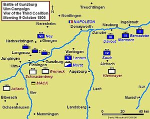Battle of Elchingen - Battle of Gunzburg strategic map, situation morning 9 October 1805