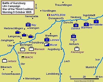 Battle of Gunzburg Campaign Map, situation morning 9 October 1805