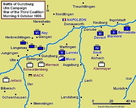 Battle of Gunzburg strategic map, situation morning 9 October 1805