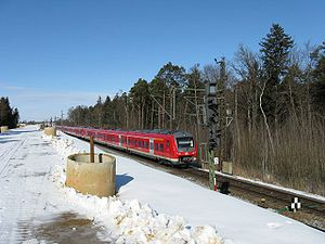 Munich–Augsburg railway - New line being built on sand embankment at Haspelmoor