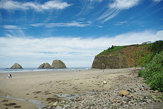 Tillamook County, Oregon - Beach at Oceanside and Three Arch Rocks National Wildlife Refuge