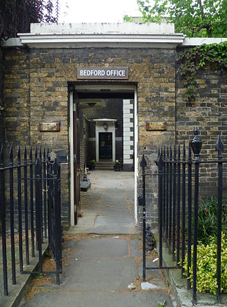Bedford Estate - Entrance to the Bedford Estate office in Montague Street.