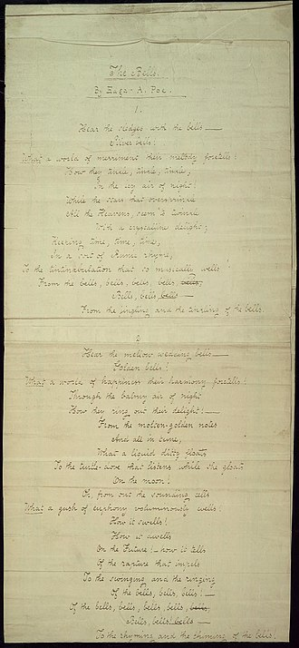 "The Bells (poem) - First two pages of Poe's handwritten manuscript for ""The Bells"", 1848"