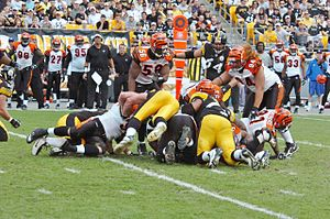 2006 Cincinnati Bengals season - Image: Bengals vs Steelers 2006 Bengals stop Steelers