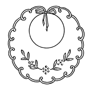 English: Line art drawing of a child's bib.