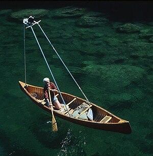 Bill Mason - Mason in a canoe with overhead camera