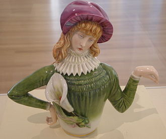 Royal Worcester - Female side of Aesthetic teapot designed by R. W. Binns and modeled by James Hadley, 1881.