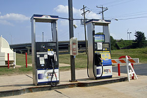 Alternative fuel - Alternative fuel dispensers at a regular gasoline station in Arlington, Virginia. B20 biodiesel at the left and E85 ethanol at the right.
