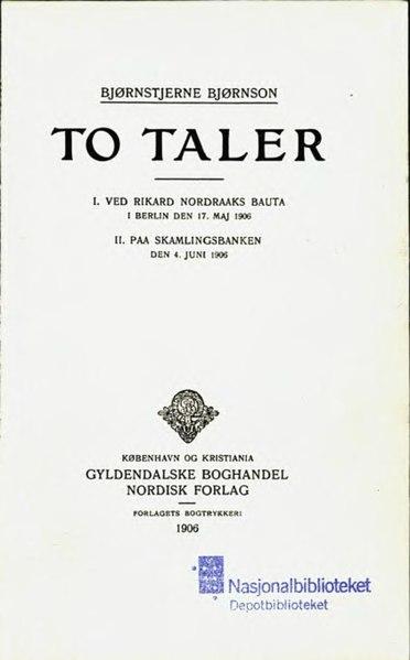 File:Bjørnson - To Taler.djvu