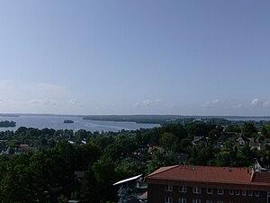 Plön - Plön from the Parnass Tower with Plön Lake and Plön Castle in the centre