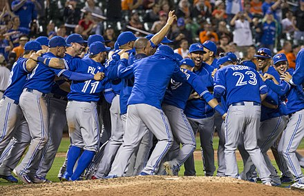 The Blue Jays celebrate after clinching the American League East in 2015; they went as far as the ALCS, only to lose against the eventual World Series-winning Kansas City Royals. Blue Jays clinch 2015 AL East.jpg