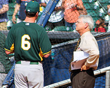 Bob Melvin and Bill Brown April 2014.jpg
