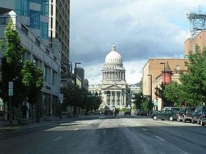Deutsch: Boise, Downtown mit Blick auf das Sta...