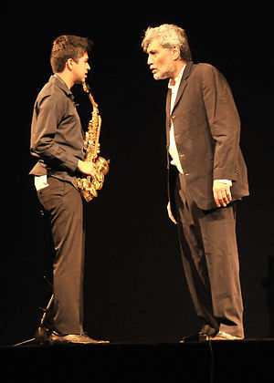 Denzil Smith - Denzil Smith(r) plays the lead of the mentor, with Rhys D'Souza as the mentee in StageSmith Productions' Bombay Jazz, a play inspired by the lives of Jazz musicians in Bombay's film industry (now popularly called Bollywood) - February 2015