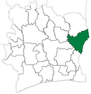 Bondoukou Department - Image: Bondoukou Department locator map Côte d'Ivoire (1974 80)