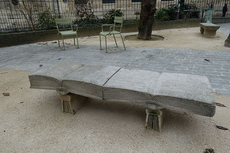 File:Book bench, Square Gabriel Pierné, Paris 11 February 2017.jpg