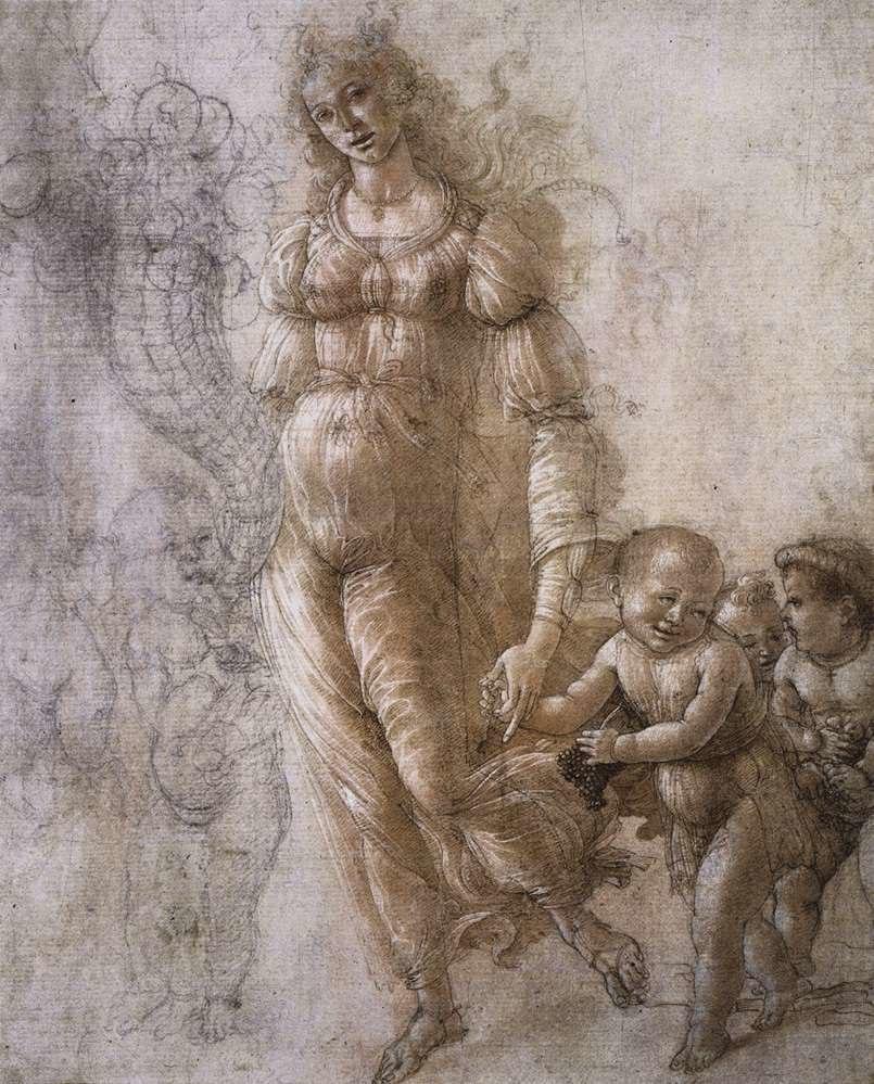 Botticelli, allegoria dell%27abbondanza, disegno