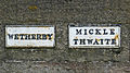 Boundary between Wetherby and Micklethwaite, in the middle of Wetherby Bridge (Taken by Flickr user 6th July 2014).jpg