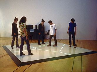 Interactive art - Boundary Functions (1998) interactive floor projection by Scott Snibbe at the NTT InterCommunication Center in Tokyo.