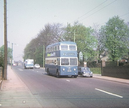 Bradford trolleybus in Leeds Road, Greengates, May 1971. Bradford Trolleybus in Leeds Road, Greengates - geograph.org.uk - 1463093.jpg