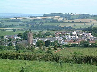 Bradninch from Castle Hill, St Disen's Church is to the left