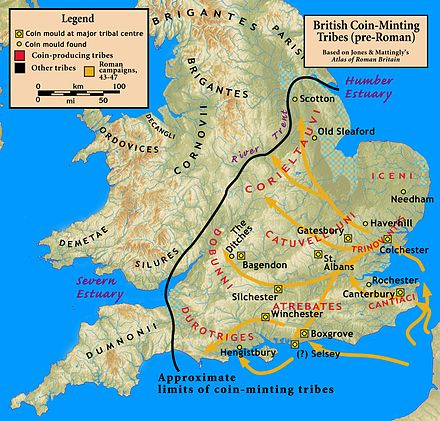 Conquests under Aulus Plautius, focused on the commercially valuable southeast of Britain. British.coinage.Roman.invasion.jpg